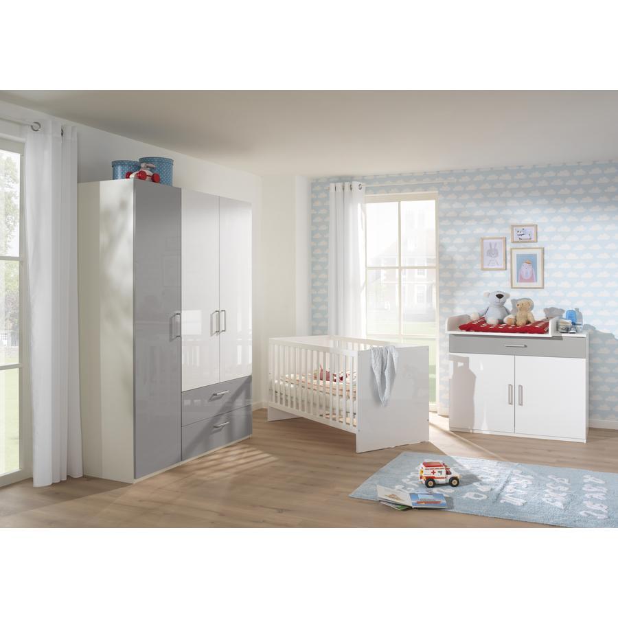 Baby-STAR WELLEMÖBEL Kinderzimmer Glossy weiß / Vulkangrau 5 teilig ...
