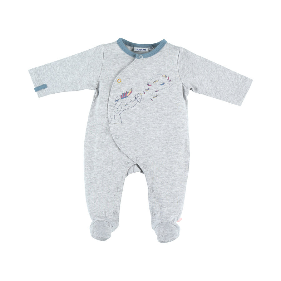 noukie Boys 's pyjama 1-delige grafisch grijze mergel