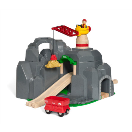 BRIO® WORLD Mine d'or à grue et tunnel sons 33889