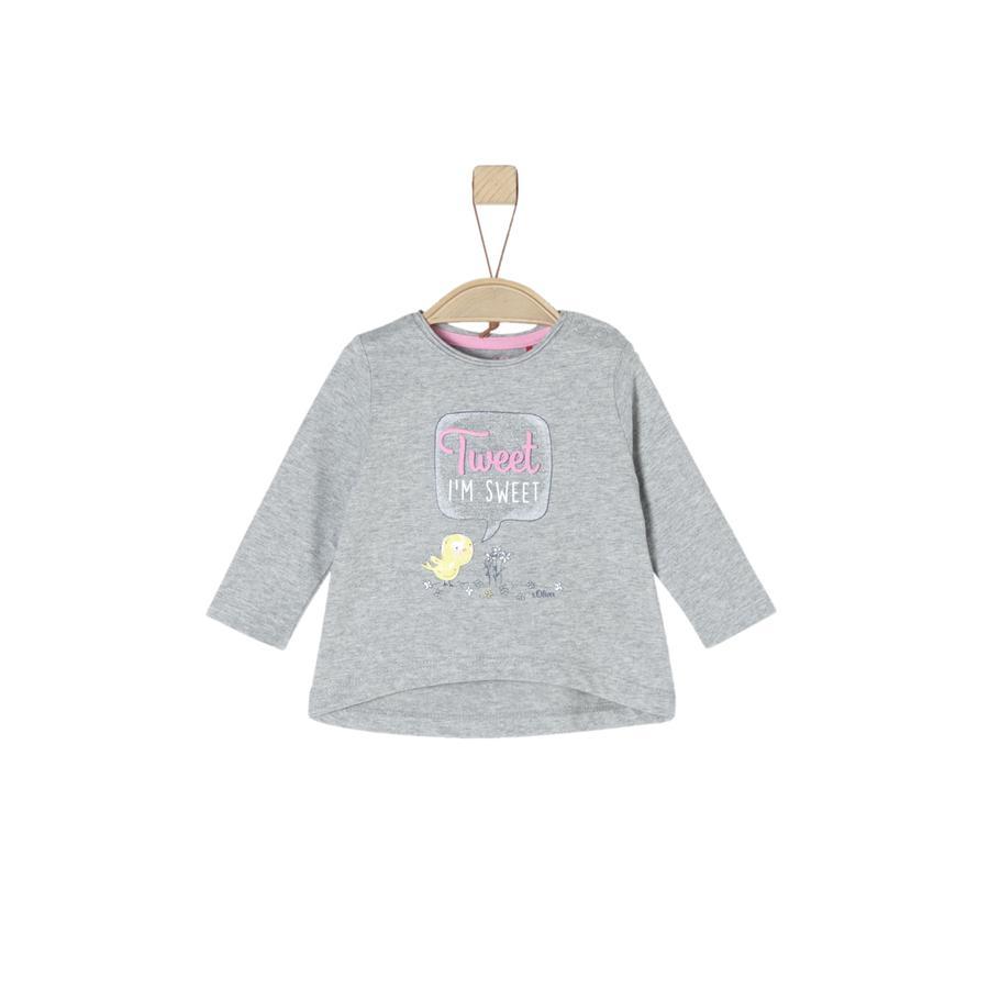 s.Oliver Girl s Shirt met lange mouwen lichtgrijs melange