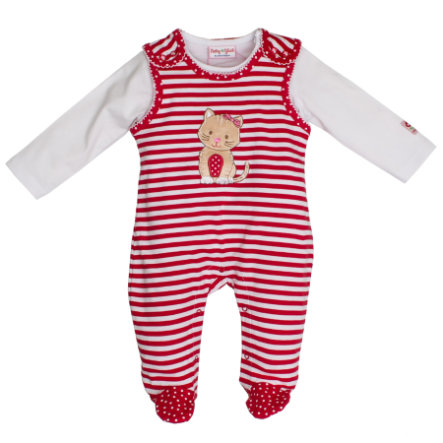SALT AND PEPPER Playsuit Glück stripe Katze cherry red