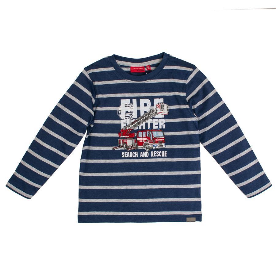 SALT AND PEPPER Langarmshirt Girls Fire stripes ink blue melange