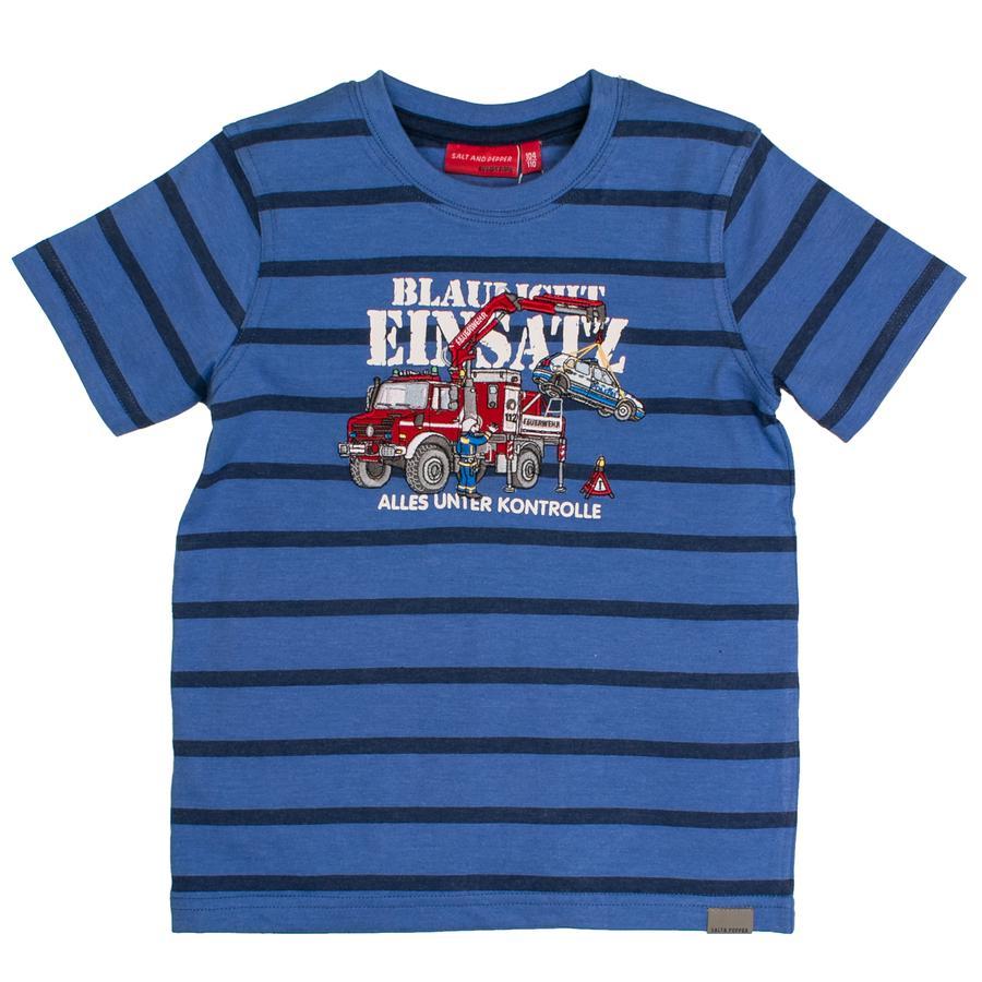 SALT AND PEPPER T-Shirt Rayures de feu melange bleu