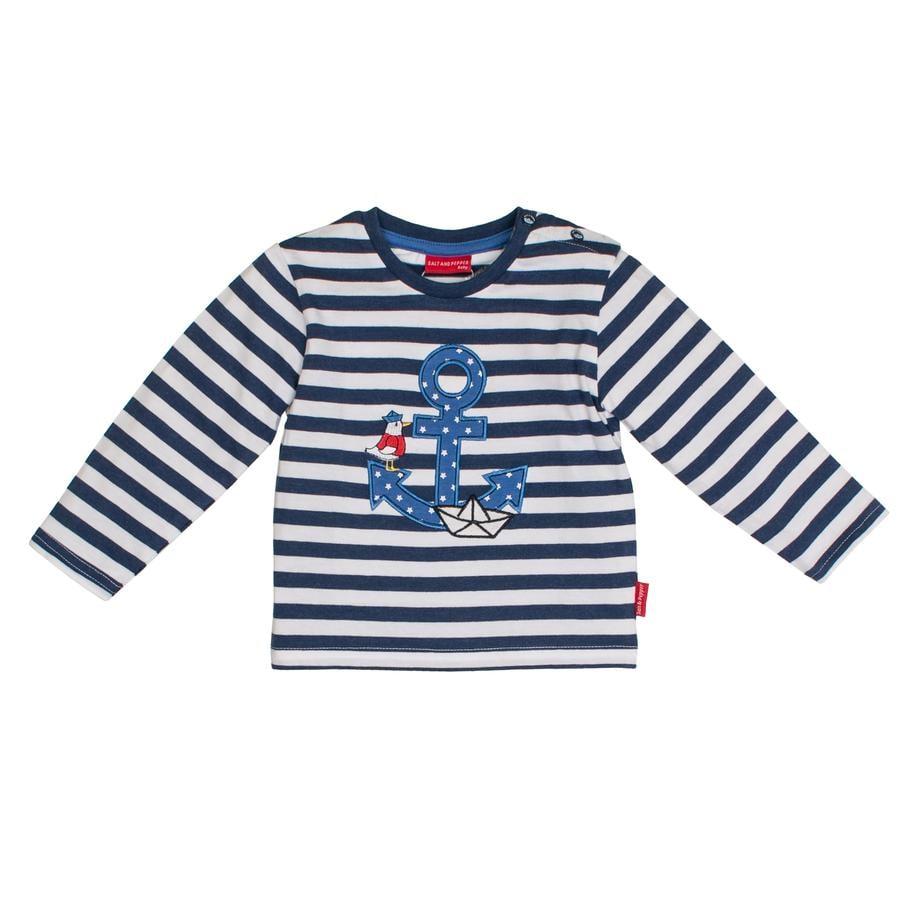 SALT AND PEPPER Langarmshirt Boys Anker stripe ink blue melange