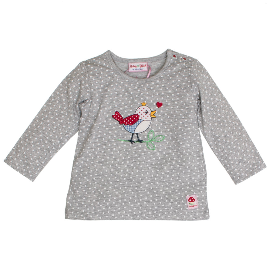 SALT AND PEPPER Baby luck shirt met lange mouwen allover vogel grijs melange