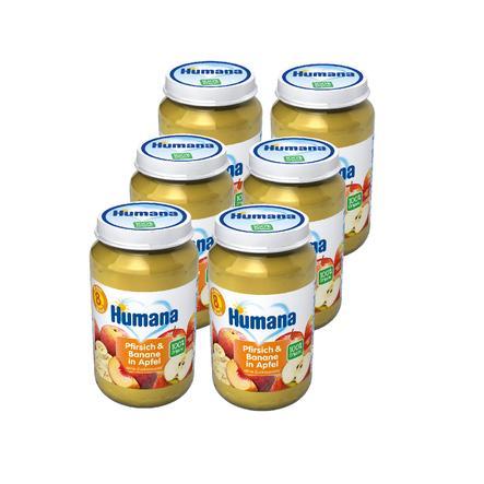 Humana Frucht Pfirsich und Banane in Apfel 6 x 190 g