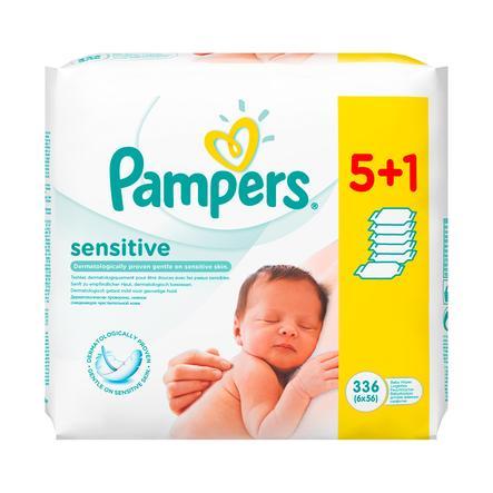 Pampers Vochtige doekjes SENSITIVE voordeelspack 5 + 1 GRATIS (56 Stuks)