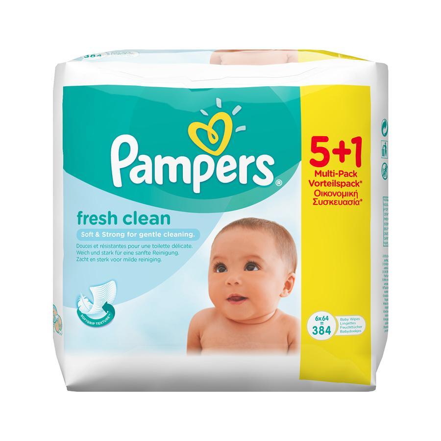 Pampers Feuchttücher Fresh Clean 5 + 1 Vorteilspack 384 Stück