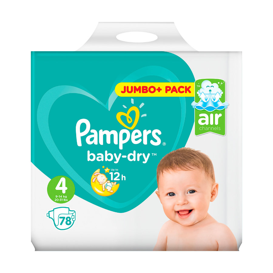 Pampers Windeln Baby Dry Gr. 4 Jumbo Plus Pack 9-14 kg 78 Stück