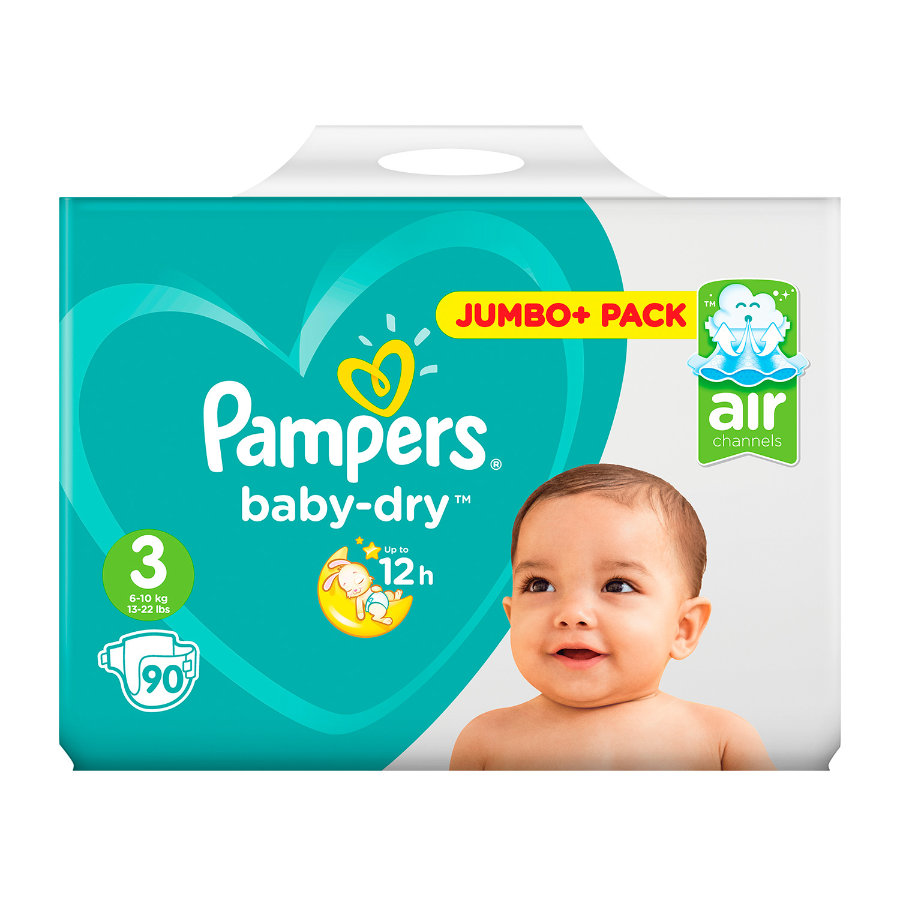 Pampers Couches Baby Dry Midi T. 3 (5-9 kg) pack Jumbo Plus, 90 pièces