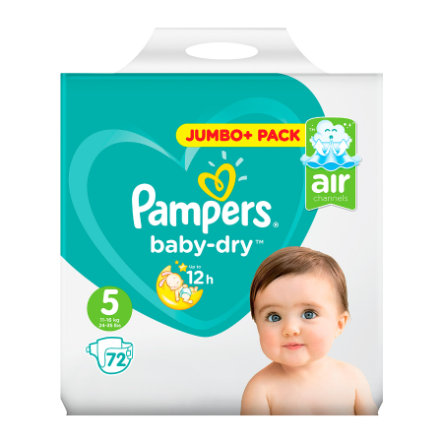 Pampers Baby Dry T.5 Junior (11-25 kg) Jumbo Plus Pack 72 pièces