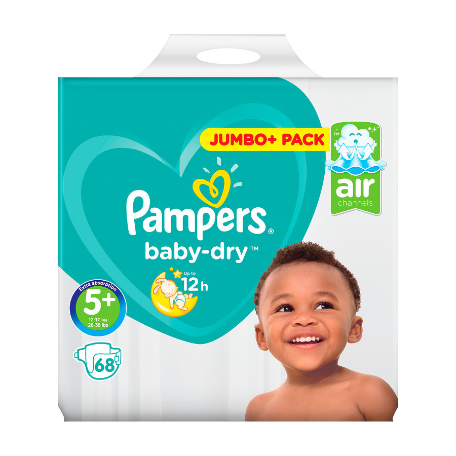 PAMPERS Baby Dry Junior Plus Size 5+ (13-27 kg) Jumbo Plus Pack 68 pcs.