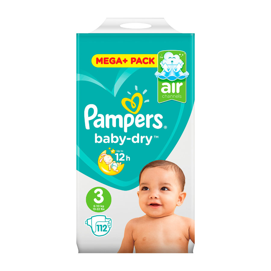 Pampers Couches Baby Dry Midi T. 3 (5-9 kg) pack mega plus, 112 pièces