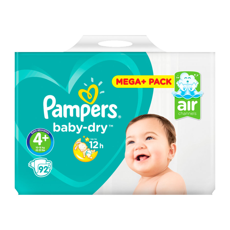 PAMPERS Baby Dry Maxi Plus Size 4+ (9-20 kg) Mega Plus Pack