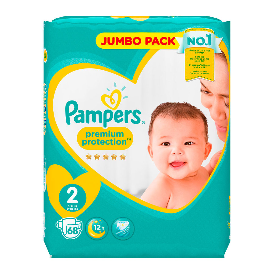 Pampers Windeln Premium Protection New Baby Gr. 2 Jumbo Pack 4-8 kg 68 Stück