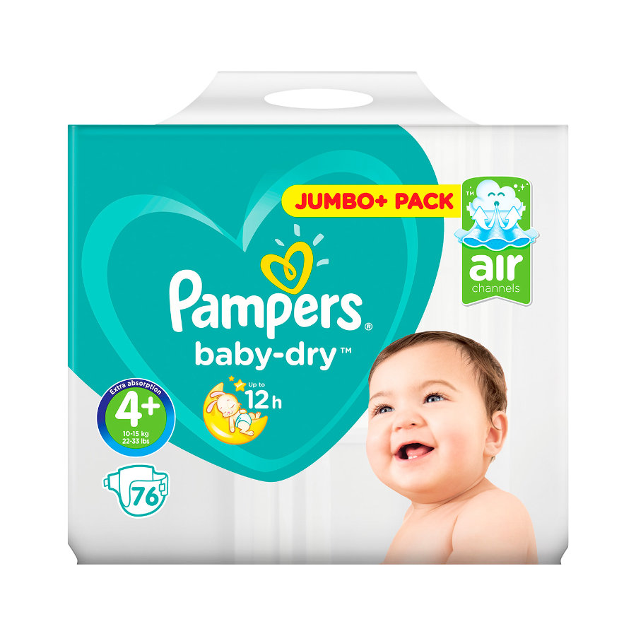 Pampers Baby Dry Plus, koko 4+ (9-18 kg), Jumbo Plus Pack 76 kpl