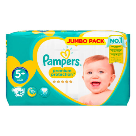 Pampers Windeln Premium Protection Gr. 5+ Jumbo Pack 12 - 17 kg 45 Stück