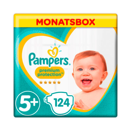 Pampers Windeln Premium Protection Gr. 5+ Monatsbox 12-17 kg 124 Stück