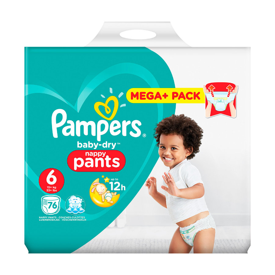 Pampers Couches Baby Dry Pants T. 6 Mega Plus Pack 16+ kg, 76 pièces