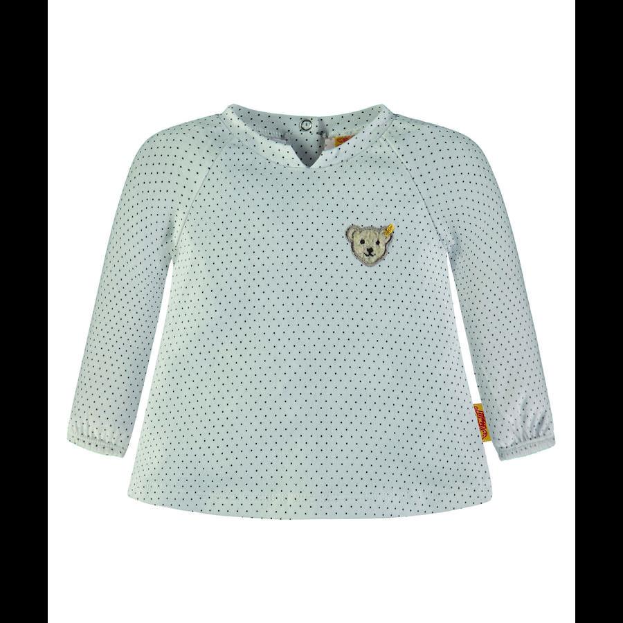 Steiff Girl s shirt met lange mouwen, wit met stippen en wit