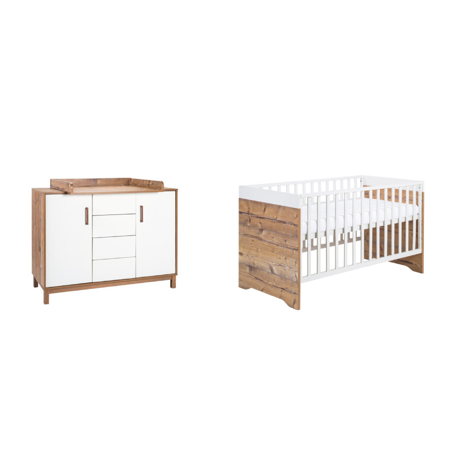 Schardt ensemble lit enfant commode timber pic a for Ensemble lit commode bebe