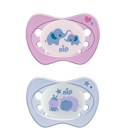 nip Leuchtschnuller Newborn Night lila / rosa Girl Silikon 0 - 2 Monate Elefant und Hippo