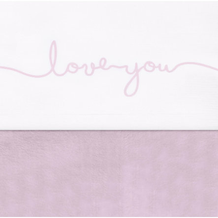 jollein Drap de lit love you rose vintage 75 x 100 cm
