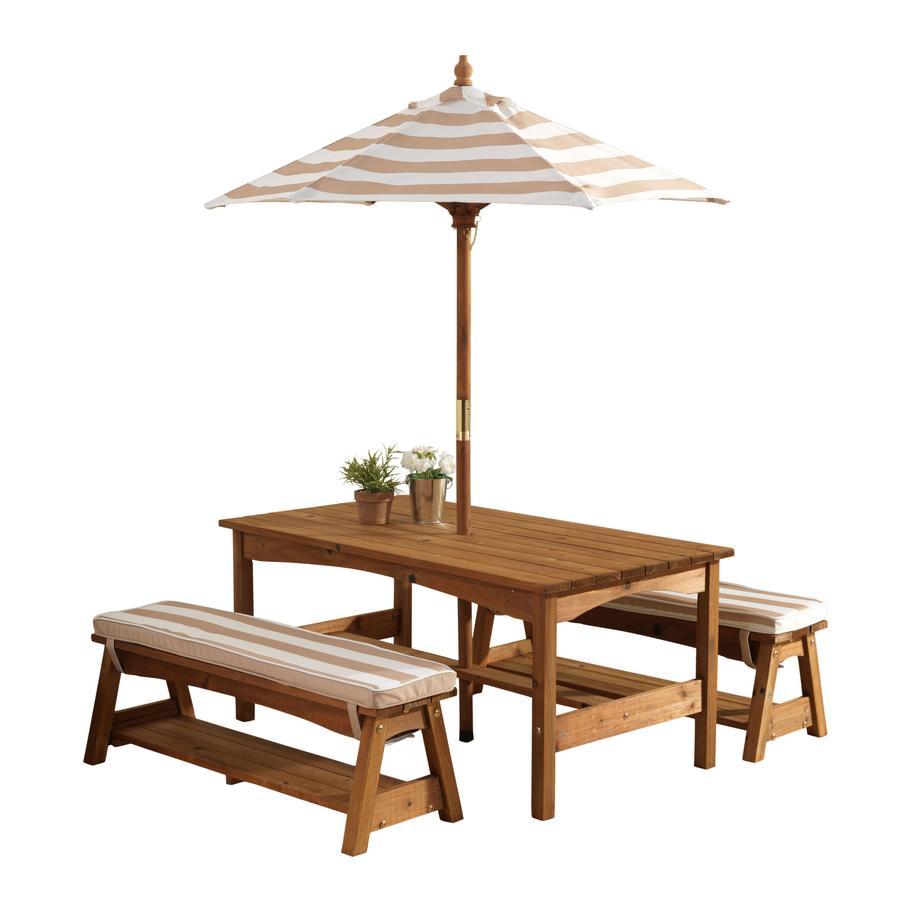 Kidkraft® Gartentischset mit Bänken, Kissen und Sonnenschirm, beige