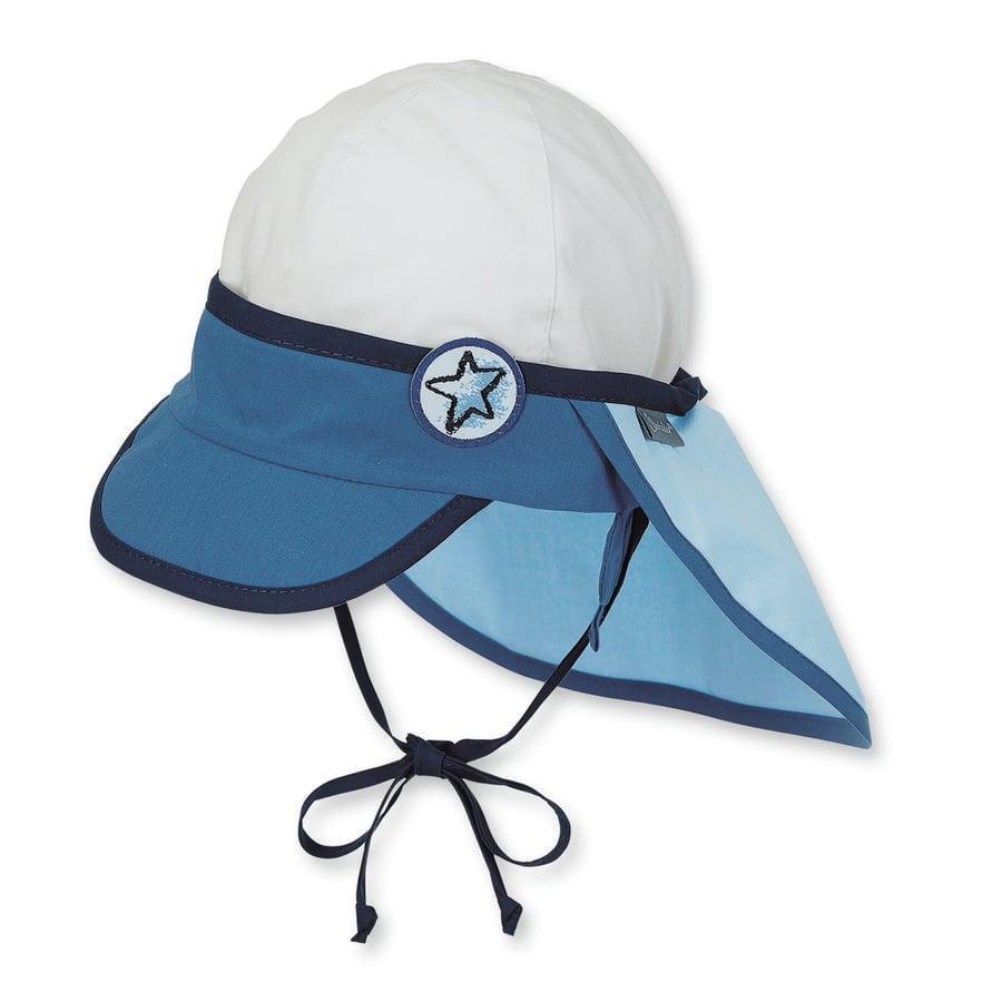 Sterntaler Boys ochrona szyjki kapelusza, niebieski/biały, - ochrona szyjki kapelusza, niebieski/biały