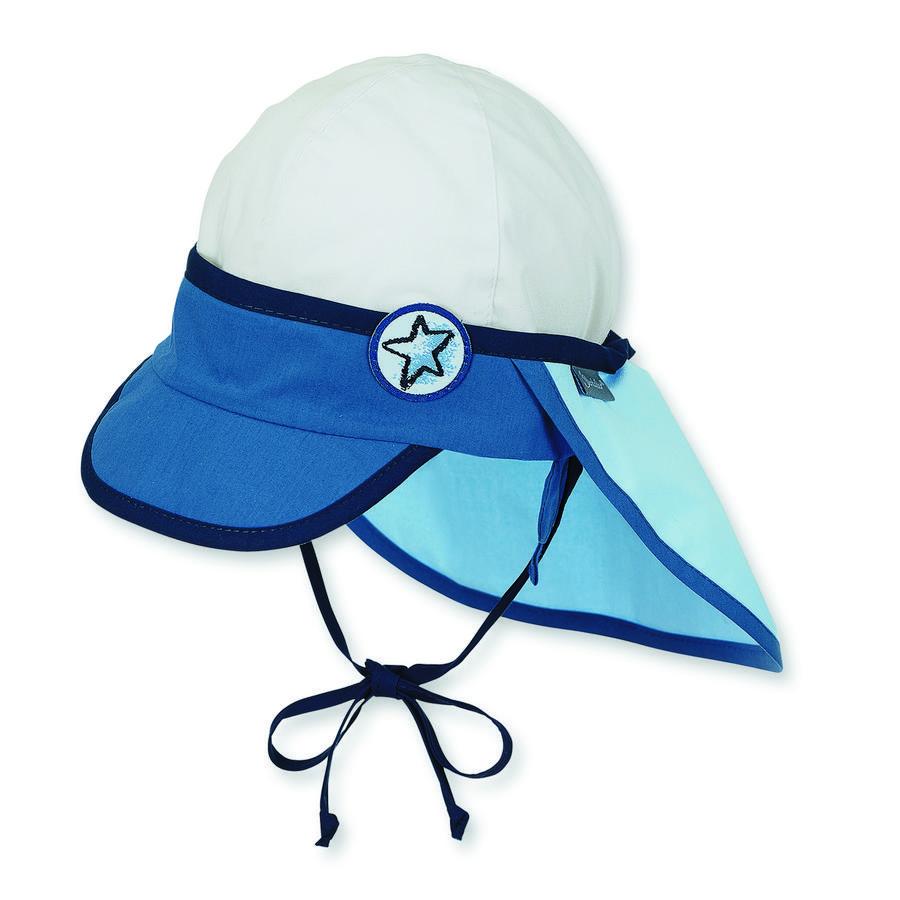 Sterntaler Boys Schirmmütze Nackenschutz, blau/weiß