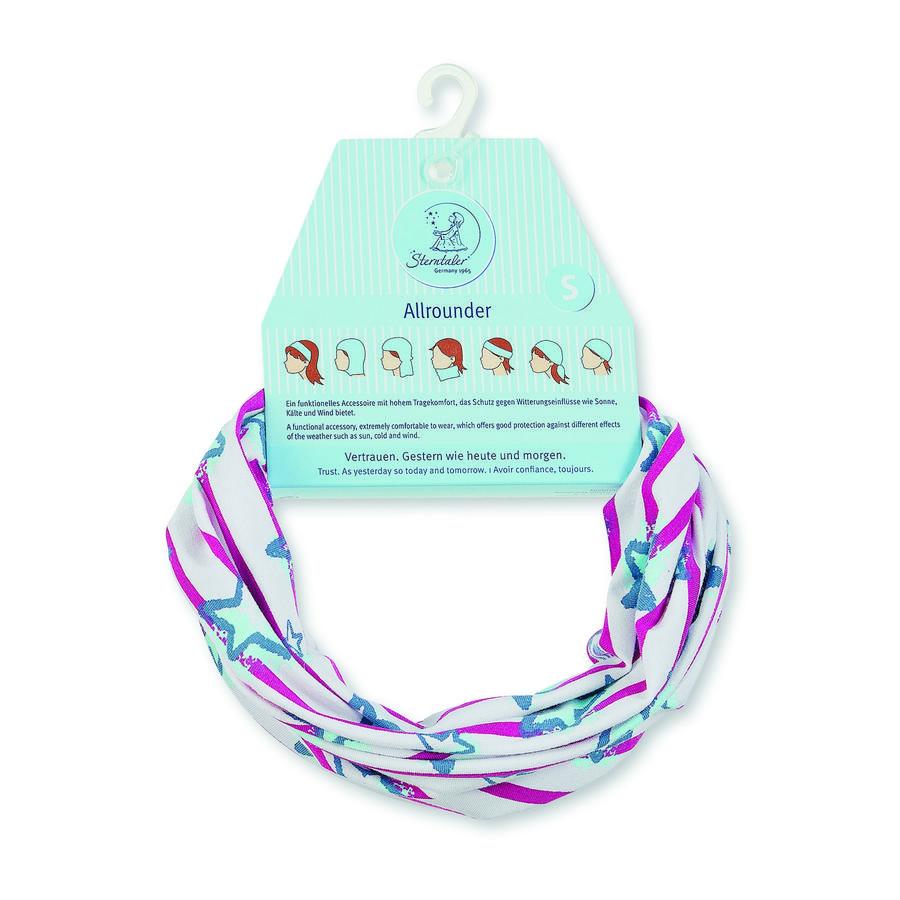 Sterntaler Multifunctionele sjaal met jersey strepen in helder violet