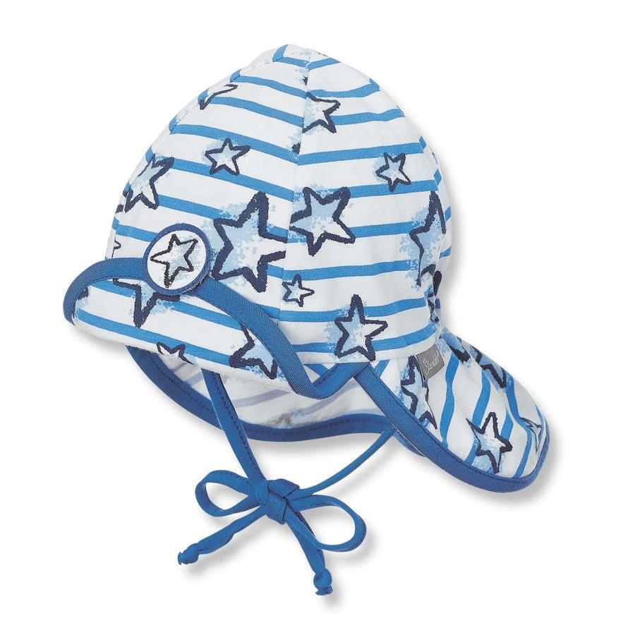 Sterntaler Shield Cap Flapper Jersey Sterren kristal blauw