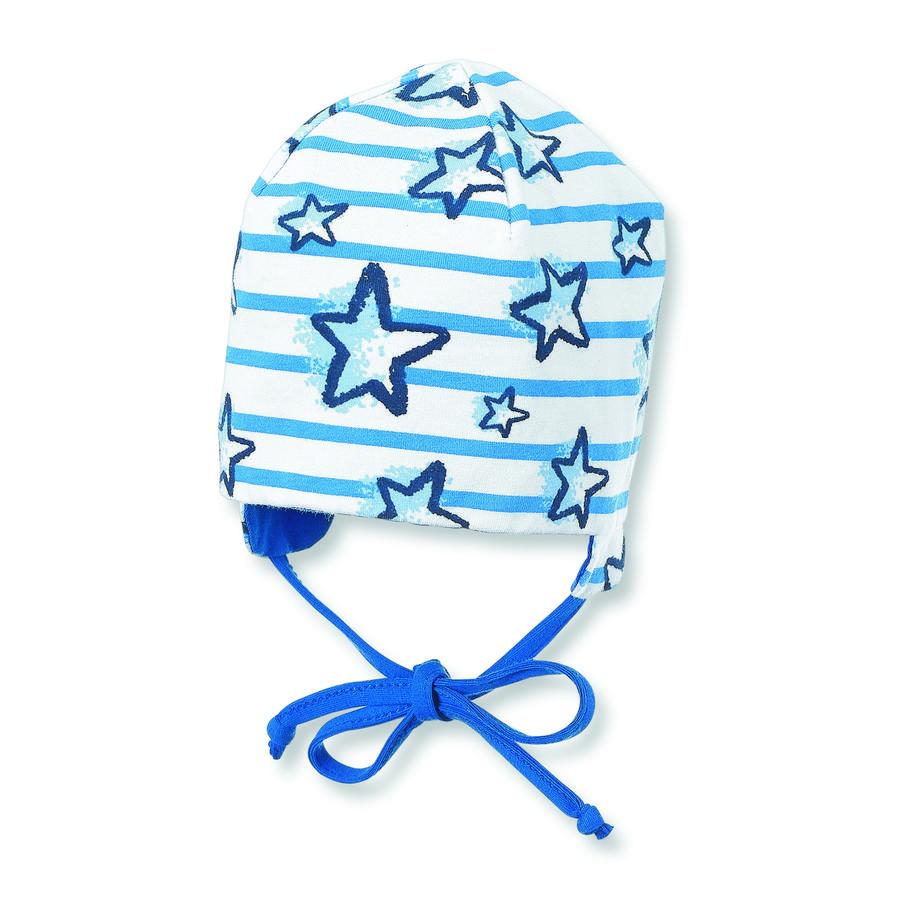 Sterntaler bonnet réversible en jersey de jersey bleu cristal
