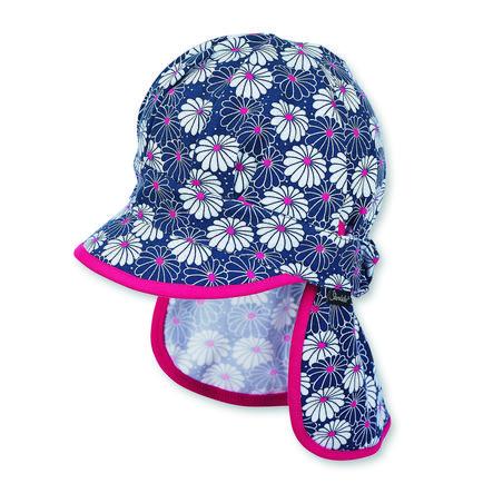 Sterntaler Girl protezione del collo con tappo a visiera con fiori blu scuro