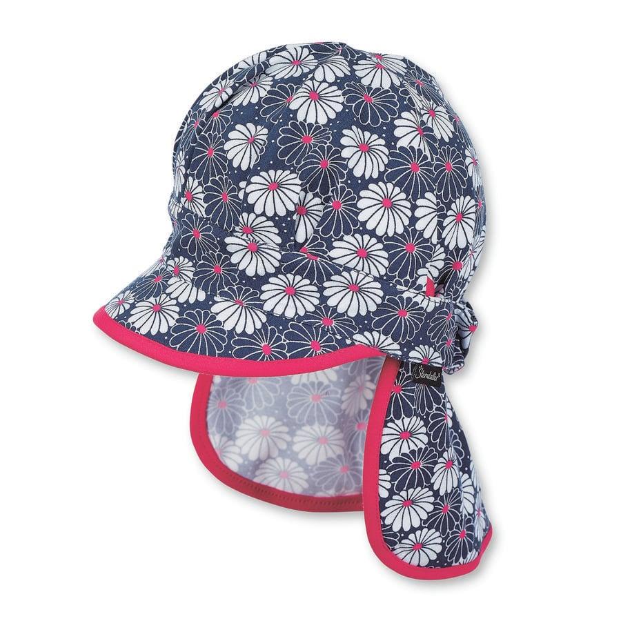 Sterntaler Girls kšiltová čepice ochrana krku květiny marine