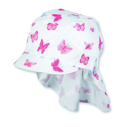 Sterntaler Girls Schirmmütze Nackenschutz Schmetterling weiß