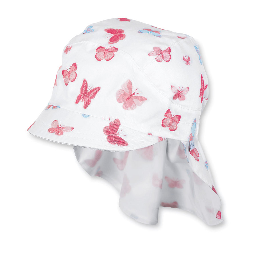 Sterntaler Girls osłona szyjki kapelusza zabezpieczająca szyjkę motyla w kolorze białym