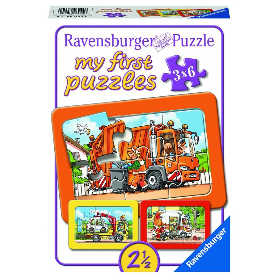 Ravensburger My first Rahmenpuzzle 3 x 6 Teile - Müllabfuhr, Krankenwagen, Abschleppwagen