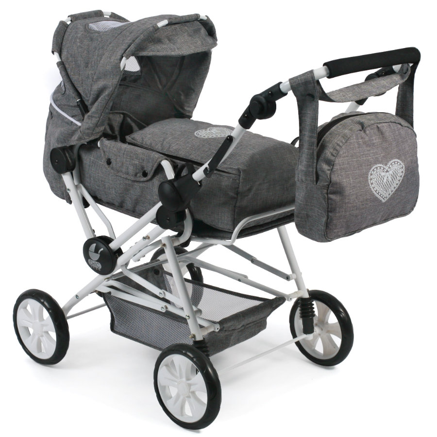 BAYER CHIC 2000 Kombi-Puppenwagen ROAD STAR, Jeans grey