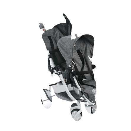 BAYER CHIC 2000 Wózek Tandem dla lalek VARIO Jeans grey