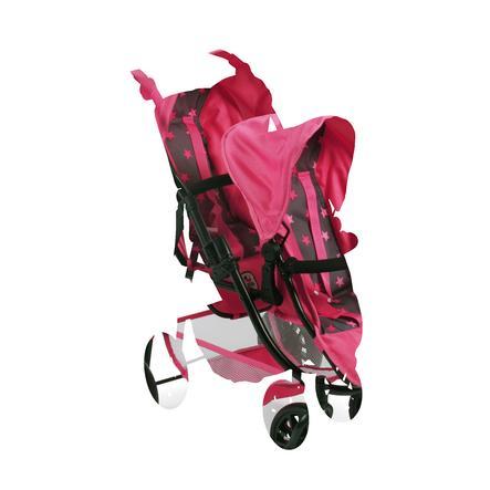 BAYER CHIC 2000 Silla de paseo Tandem de juguete VARIO estrellitas rosa