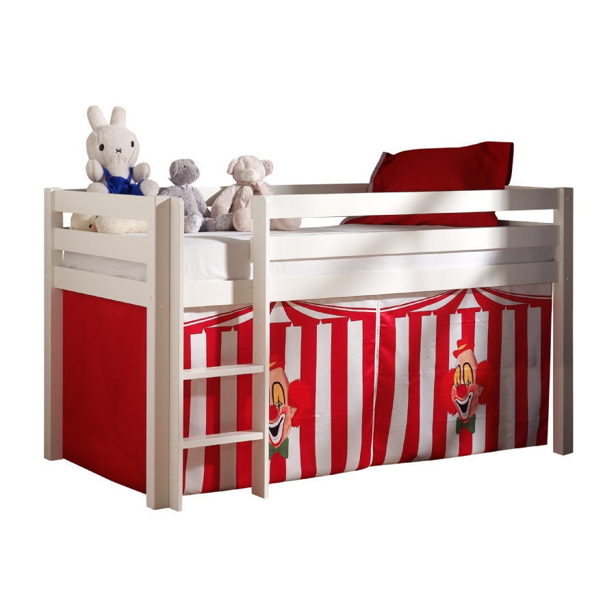 VIPACK Dětská postel Pino bílá se závěsem Cirkus