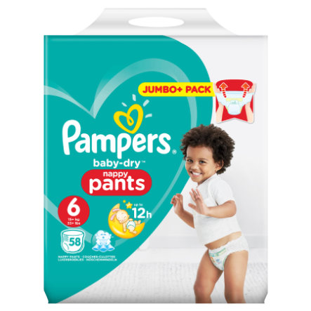 Pampers Baby Dry Pants Gr. 6 Extra Large 15+ kg Jumbo Plus Pack 58 Stück