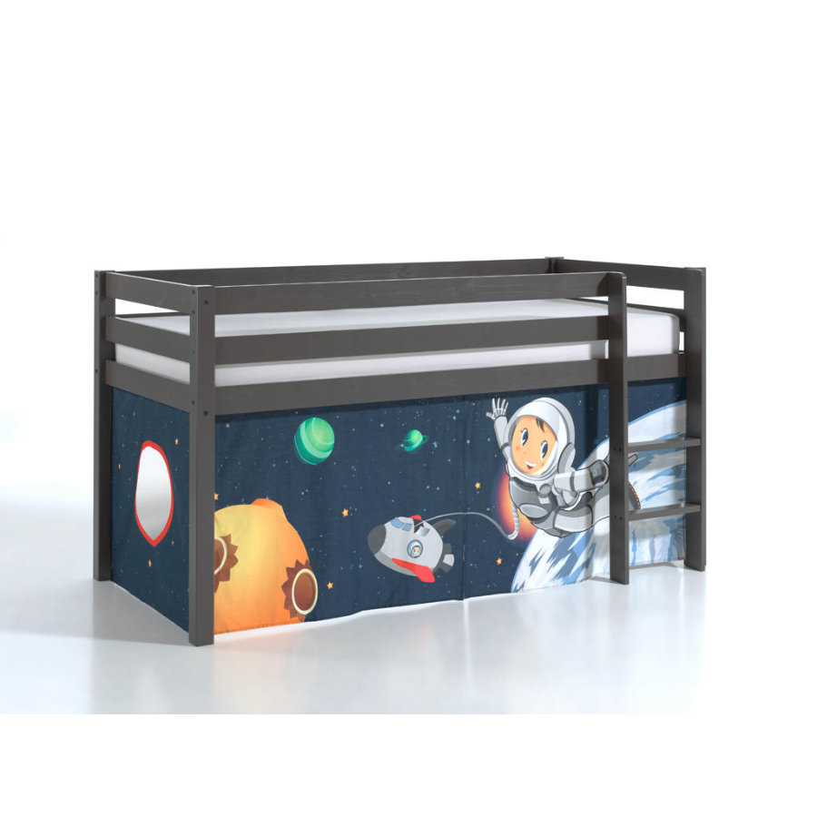 VIPACK Spielbett Pino taupe Vorhang Spaceman