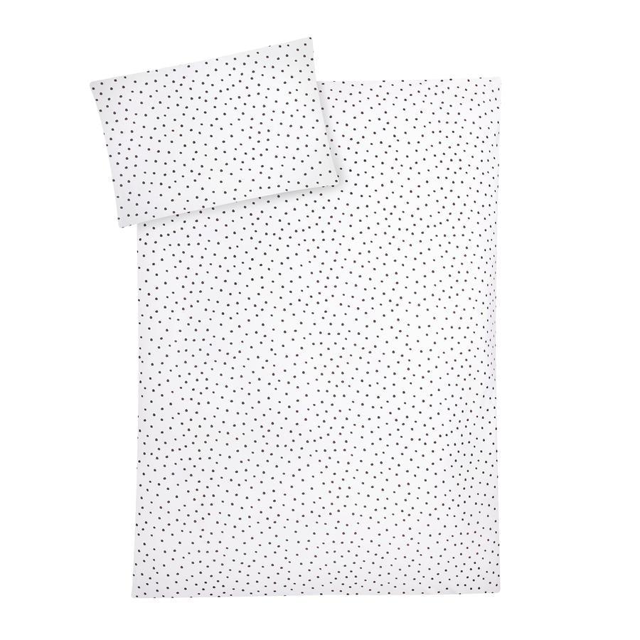 JULIUS ZÖLLNER Jersey Påslakanset, grey dots 100 x 135 cm