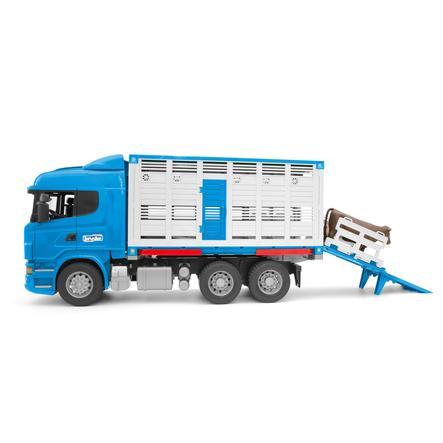 Brueder® Scania R-Serie Camión de transporte de animales + 1 vaca 03549