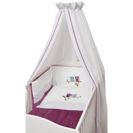 BeBes Collection Parure de lit été chouette fuchsia 3 pièces