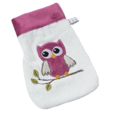 BeBes Collection Gant de toilette enfant chouette fuchsia