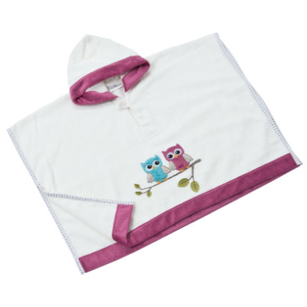 BeBes Collection Poncho de bain capuche chouette fuchsia
