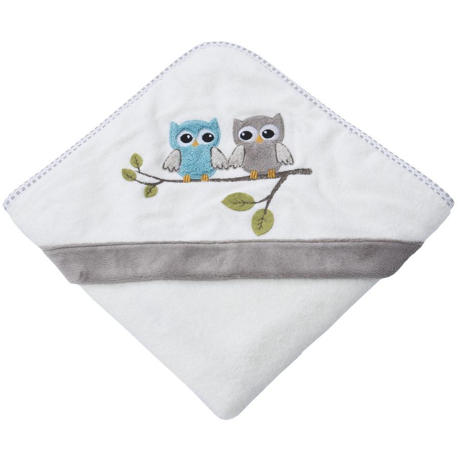 Be Be 's Collection Badehåndklæde med hætte Ugler taupe 80 x 80 cm